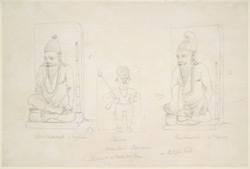 Steles with images of two seated ascetics and of a door-keeper between them. 1786-88